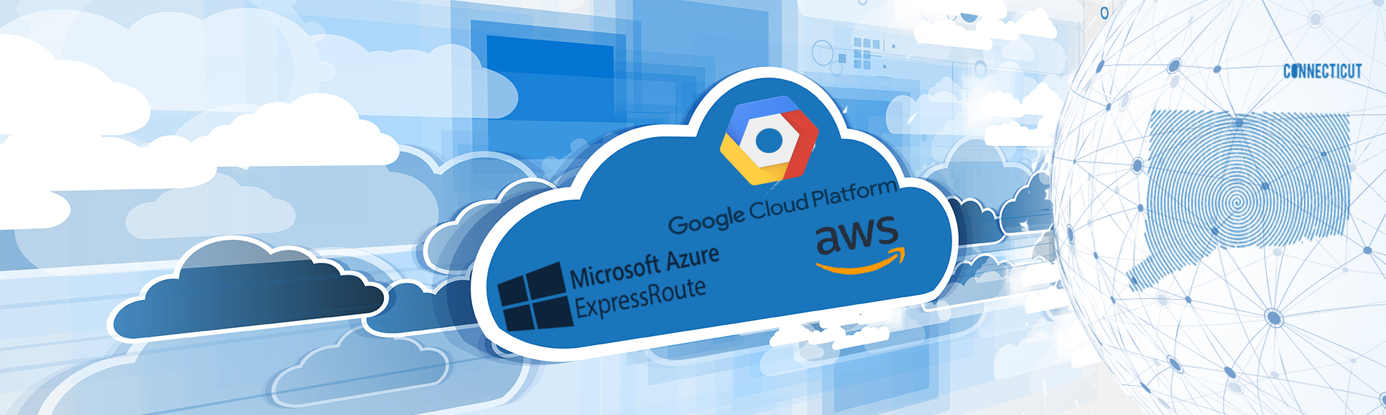 cloud icon with Google Cloud Platform logo, Microsoft Azure ExpressRoute logo, and AWS logo