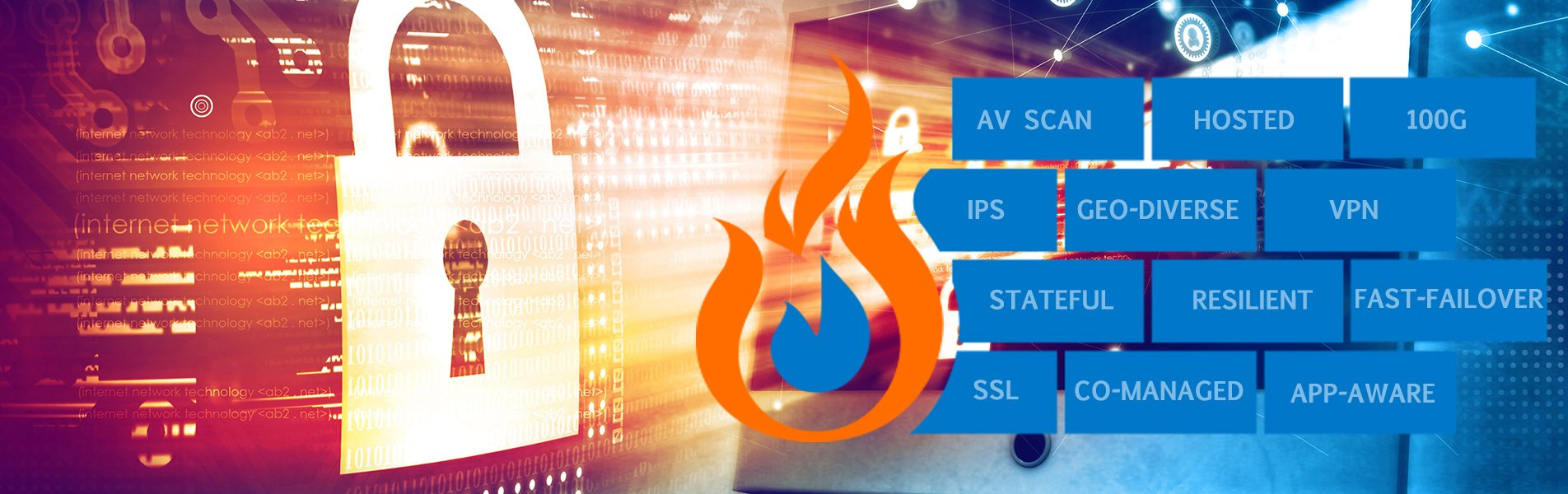 Graphic background with image of a lock, fire graphic with bricks that read: AV Scan, Hosted, 100G, IPS, Geo-diverse, VPN, Stateful, Resilient, Fast-Failover, SSL, Co-managed, App-aware