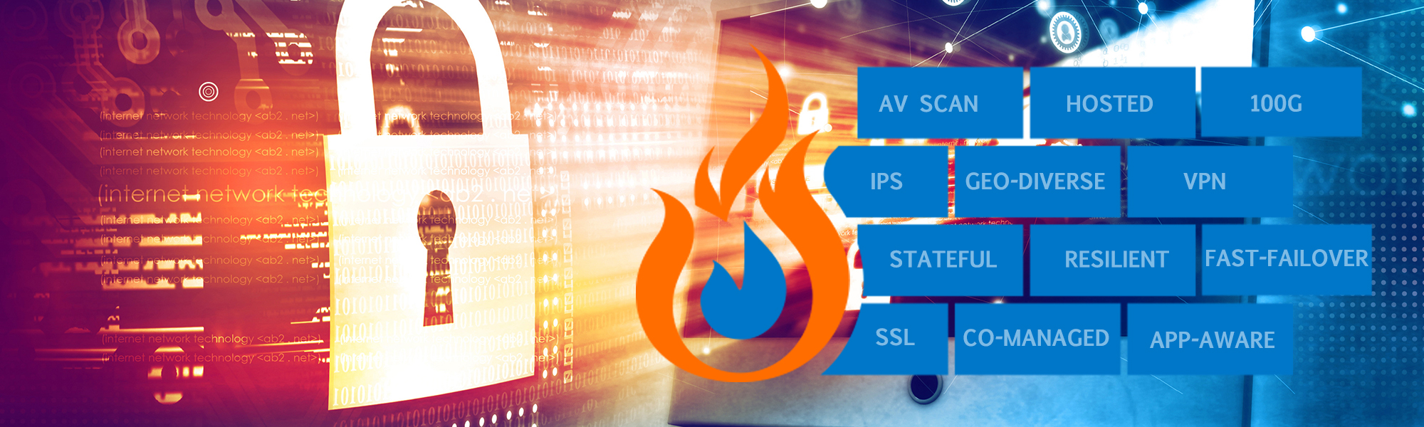 Graphic background with image of a lock, graphic of a fire next to a number of blocks that read: AV Scan, Hosted, 100G, IPS, Geo-diverse, VPN, Stateful, Resilient, Fast-Failover, SSL, Co-managed, App-aware