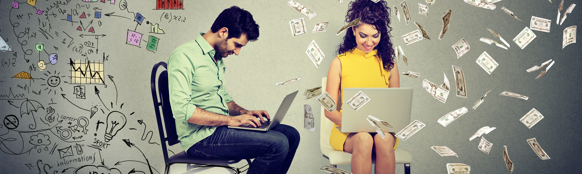 Man sitting in a chair next to a girl on a laptop in money rain