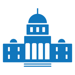 Blue government building icon