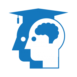 Education icon showing a person's head with a graduation cap and a person's head with a brain in it