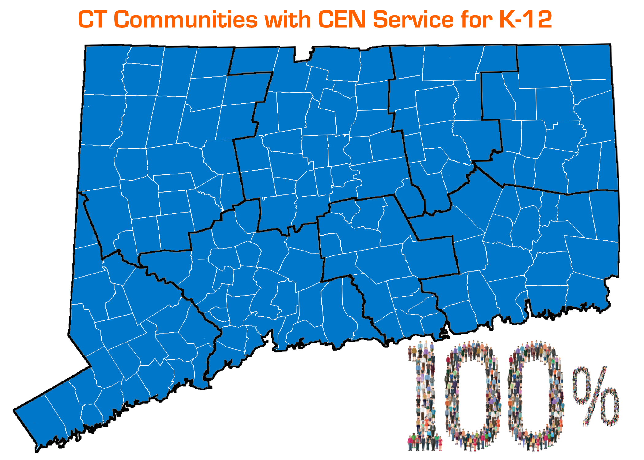 Map of CT partially shaded blue, above map reads: CT Communities with CEN Service for K-12, below map reads: 100%