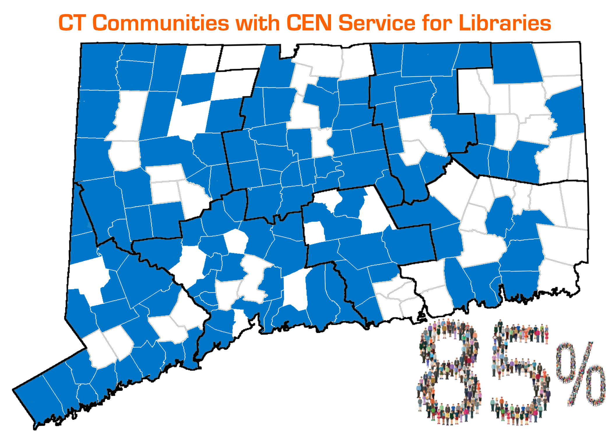 Map of CT partially shaded blue, above map reads: CT Communities with CEN Service for Libraries, below map reads: 85%