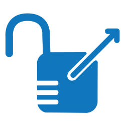 Blue open access icon, an open lock with an arrow pointing from it