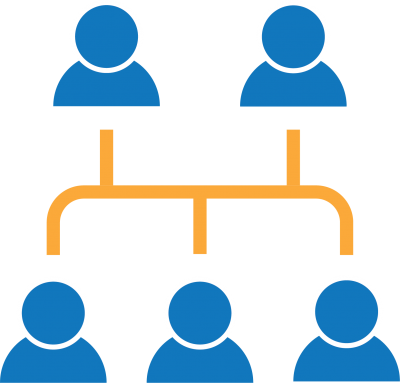 Five blue figures connected by orange lines