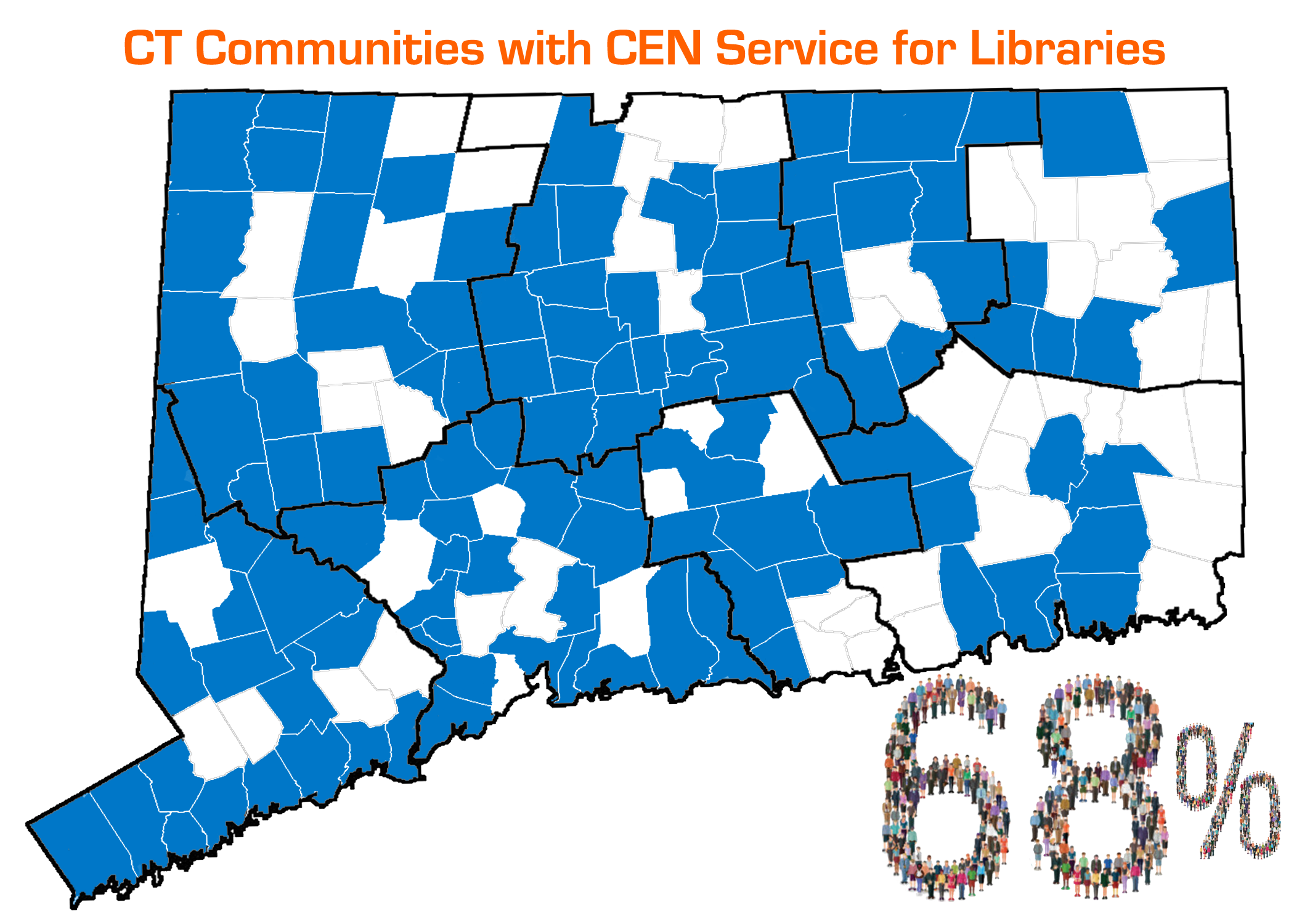 Map of CT partially shaded blue, above map reads: CT Communities with CEN Service for Libraries, below map reads: 68%